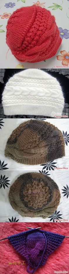 Clever idea to construct a hat by making what looks like a headband that widens in the middle, then picking up around one edge and knitting the crown of a hat, which ends up more at the back of the head.
