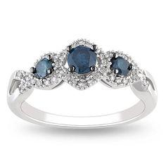 14k white gold - blue & white diamond ring.