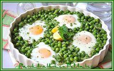 Lekker groentengerecht verrijkt en versierd met spiegeleieren......Dit heb je nodig500 gram diepvriesdoperwten1 grote of 2 kleine uien2 eetlepels olijfolie4 eieren of meer, na