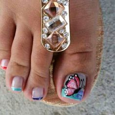 My bf won't sit still long enough for me to get this intricate with his toes, lol Cute Pedicure Designs, Toe Nail Designs, Blue Nails, My Nails, Pedicure Nails, Manicure, New Nail Art Design, French Pedicure, Nail Effects