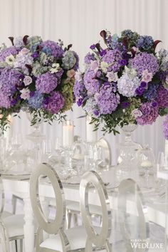 Top 10 Luxury Wedding Venues to Hold a 5 Star Wedding - Love It All Wedding Flower Guide, Purple Wedding Flowers, Star Wedding, Floral Wedding, Wedding Bouquets, Wedding House, Purple Wedding Tables, Blue And Purple Flowers, Purple Ombre