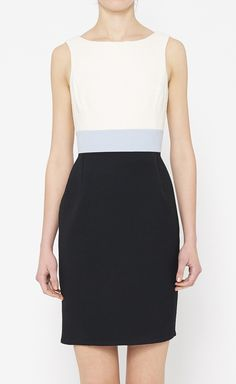 Carolina Herrera White, Black And Blue Dress
