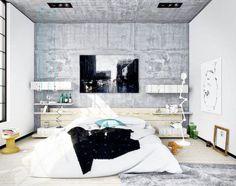 chambre adulte avec papier peint imitation béton