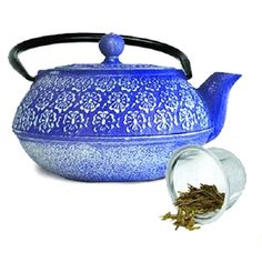 Primula PCI4340 Blue Cast Iron Teapot 40 oz. with Stainless