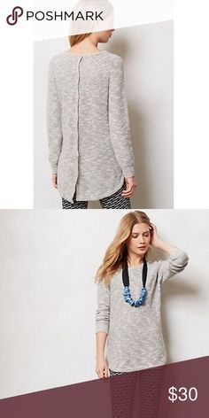 """Anthropologie Slubby Button Back Pullover Slight wear/pilling but overall good condition.   When it comes to basics, we can't get enough of easy, thoughtful pieces that go beyond the call of casual duty. With unexpected back buttons, Sparrow's pullover is a charming staple.  Cotton, acrylic, linen Hand wash 18"""" across chest, 27-29""""L Anthropologie Sweaters Crew & Scoop Necks"""