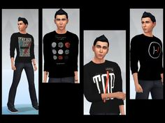 Several  twenty one pilots sweater recolors for men!!  Found in TSR Category 'Sims 4 Male Everyday'