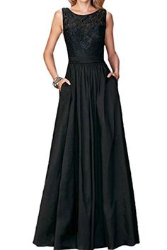 Ivydressing Aline Scoop Lace Wedding Guest Prom Evening Dresses 2017 Long4Black >>> Check out the image by visiting the link.