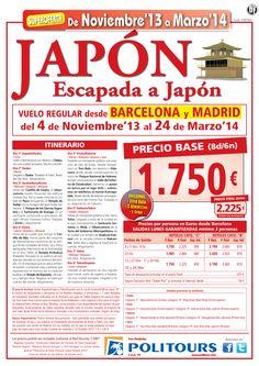 Escapada a JAPON, sal. del 11/11/13 al 31/03/14 desde Mad y Bcn (8d/6n) p.f 2.225€ - http://zocotours.com/escapada-a-japon-sal-del-111113-al-310314-desde-mad-y-bcn-8d6n-p-f-2-225e/