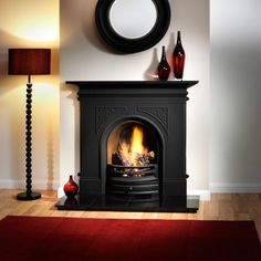 Pembroke Black Cast Iron Fireplace with Flueless Magiflame™ Alchemy Bioethanol Fire - Flueless Bioethanol Fireplaces - Fireplace Packages Cast Iron Fireplace, Cast Iron Stove, Victorian Fireplace, Black Fireplace, Small Fireplace, Bedroom Fireplace, Living Room With Fireplace, Fireplace Design, Fireplace Brick