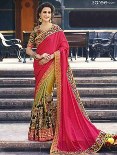PINK AND GREEN BANGALORE SILK SAREE WITH ZARI WORK