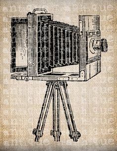 Antique Camera Photography  Illustration Printing  Digital Download for Tea Towels, Papercrafts, Transfer, Pillows, etc. No 3531. $1.00, via Etsy.