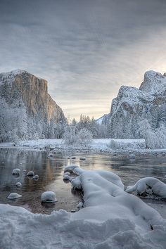 Snow covers everywhere.  I personally think winter at Yosemite is best, not least because the people are FAR fewer; for viewing of all the park wonders, probably late spring is best.