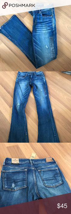 """AE skinny kick super stretch jeans NWT. American Eagle skinny kick jeans. Super stretch material with distressing. Vented hems for some added flare. Size 8. Waist is about 15"""" and inseam is about 31"""". American Eagle Outfitters Jeans Boot Cut"""