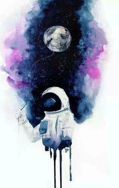 Astronauta acuareloso jugando con la luna