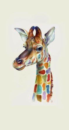 Friendly Giraffe Colorful iPhone 6 Plus HD Wallpaper