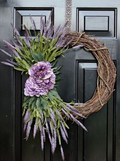 Lavender wreath by FloralByRoo on Etsy
