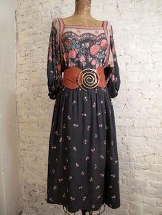 70s Floral BoHo Dress