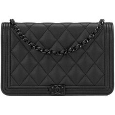 Chanel SO Black Quilted Caviar Boy Wallet On Chain (WOC) (189.730 RUB) ❤ liked on Polyvore featuring bags, wallets, quilted bag, chanel wallet, quilted wallet, hardware bag and chanel