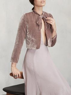 Cropped velvet with a neck tie, yes please. The Opera Bolero is the perfect… Fashion Outfits, Womens Fashion, Fashion Tips, Fashion Design, Fashion Ideas, Velvet Fashion, Velvet Tops, Mode Hijab, Creations