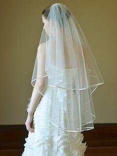 Wedding veil bridal veil two tier satin edge veil by MadameTulle