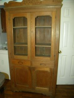 Antique 1880s Victorian Pie Food Safe Tall Cupboard w Screen Wire ...