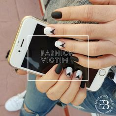 Geometric nail art. Black & white matt nails . Fall 2017