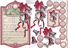 Ding Dong Merrily on High Christmas Carol Decoupage on Craftsuprint designed by Sandie Burchell - Lovely Shaped Panel Decoupage with The Holly and the Ivy Sheet Music, Holly, Ivy and Green Satin Bow Sentiments include: Merry Christmas, Happy Christmas, Happy Holidays, Best Wishes at Christmas, From Our Family To Yours, From Our House To Yours, To Special Parents At Christmas, To A Special Husband At Christmas, To A Special Grandad At Christmas, To A Special Brother At Christmas, To A…