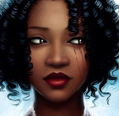 Black art.  Artist unknown I'm supposing that the black lines on her face are from her eye makeup because possibly she was crying?