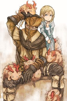Aww, it's Henryk and his granddaughter! (At least, I like to think that Henryk is Viola's father) :p // BloodBorne Henryk and Cleric beasts by Bloodborne Characters, Bloodborne Art, Old Blood, Dark Blood, Dark Fantasy, Fantasy Art, Character Inspiration, Character Design, Soul Game