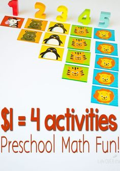 4 Super cheap math activities for preschoolers! Only $1! Patterns, matching, counting & more!