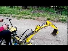 homemade excavator part Excavator Parts, Mini Excavator, Small Farm, Go Kart, Tractors, Outdoor Power Equipment, Homemade, Hoe, Youtube