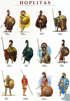 Hoplitas: Hoplites were citizen-soldiers of Ancient Greek city-states who were primarily armed with spears and shields. Hoplite soldiers utilized the phalanx formation in order to be effective in war with fewer soldiers. Greek History, Ancient History, European History, Ancient Aliens, American History, Military Art, Military History, Military Uniforms, Greek Mythology
