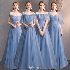 Affordable Sky Blue Bridesmaid Dresses 2019 A-Line / Princess Spotted Tulle Floo… Affordable Sky Blue Bridesmaid Dresses 2019 A-Line / Princess Spotted Tulle Floor-Length / Long Ruffle Backless Wedding Party Dresses Modest Wedding Gowns, Western Wedding Dresses, Wedding Gowns With Sleeves, Backless Wedding, Wedding Party Dresses, Wedding Parties, Tea Length Bridesmaid Dresses, Blue Bridesmaids, Marie