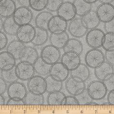 Life... Enjoy The Ride Bike Wheels Grey from @fabricdotcom  Designed by Tina Higgins Designs and licensed to Quilting Treasures, this cotton print fabric is perfect for quilting, apparel and home decor accents. Colors include shades of grey.