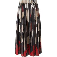 Salvatore Ferragamo Printed a-Line Skirt ($1,411) ❤ liked on Polyvore featuring skirts, multicolour, multicolor skirt, geometric skirt, colorful skirts, multi colored skirt and knee length a line skirt