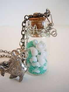 OOAK Message In A Bottle Necklace Little Fishy By by DebbieRenee, handmade jewelry
