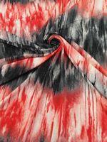 Red/Gray/White Stripe-Effect Tie-Dye Knit 58W