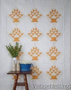 $225 Beautiful-Vintage-Cheddar-Yellow-White-Basket-of-Grapes-QUILT-Generational www.Vintageblessings.com