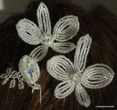 Trio of Orchid Hair Pins Crystal Sparkle by CataleyaHandcrafts