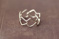 Geometric Patterned Statement Ring  Sterling Silver