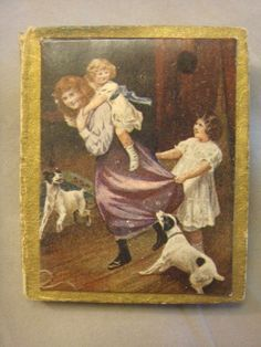 VINTAGE ANTIQUE VICTORIAN NEEDLE CASE WITH CHILDREN & DOGS ON THE COVER #SUPERFINENEEDLES