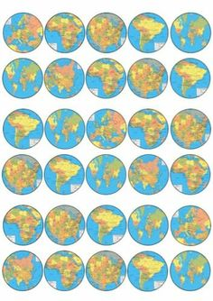 30 x World Continent Maps Images Edible Cup Cake Toppers Premium Rice Paper 230 | eBay