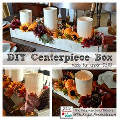 DIY Wood Centerpiece Box - could be changed up and filled with seasonal decorations for different holidays Wooden Box Centerpiece, Diy Centerpieces, Autumn Crafts, Holiday Crafts, Diy Wood Projects, Diy Projects To Try, Decor Crafts, Diy And Crafts, Simple Crafts