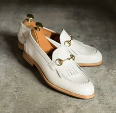 Preowned High Quality And Inexpensive Size 12 D Stafford Men's White Leather Casual Loafers
