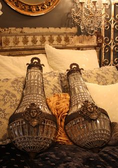 Xlrg Pair Antique Beaded Wall Sconces Figural Woman-