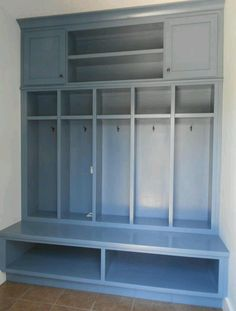 Slate blue mudroom bench and storage