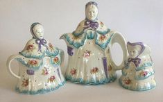 VIntage Little Old Lady Teapot Set Vintage