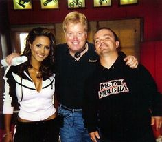 """Rusty Nelson (director) and hosts Leeann Tweeden and Wee Man on set of """"54321"""""""