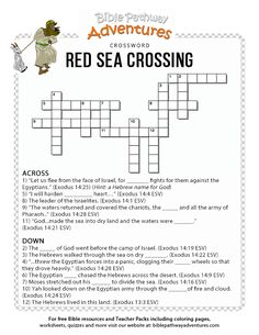 Enjoy our free Bible crossword, Red Sea Crossing. Fun for kids to print and test their knowledge of Moses and the Exodus. Feel free to share with others! Bible Study For Kids, Bible Lessons For Kids, Kids Bible, Sunday School Kids, Sunday School Lessons, Printable Crossword Puzzles, Bible Quiz, Bible Activities, Bible Games