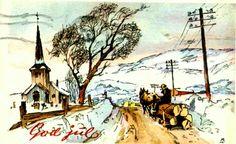 Julekort Gunnar Bratlie stemplet 1955 Utg Aune